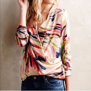 Anthro HD in Paris Camilla Watercolor Drape Blouse